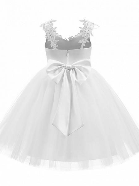Princess Short Length Wedding / First Communion / Birthday Flower Girl Dresses - Taffeta / Tulle Sleeveless V Neck With Bow(S) / Appliques_3