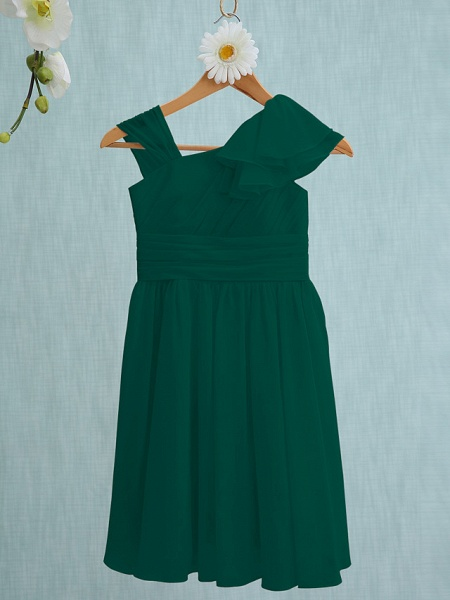 Sheath / Column Straps Knee Length Chiffon Junior Bridesmaid Dress With Ruffles / Side Draping / Natural_25