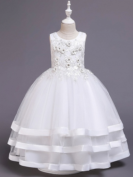 Princess Medium Length Wedding / Party / Pageant Flower Girl Dresses - Satin / Tulle / Cotton Sleeveless Jewel Neck With Belt / Embroidery / Appliques_2