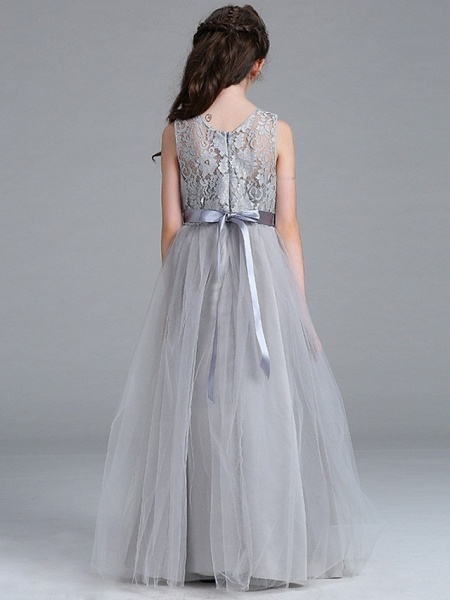 A-Line Round Floor Length Cotton Junior Bridesmaid Dress With Lace / Bow(S)_7