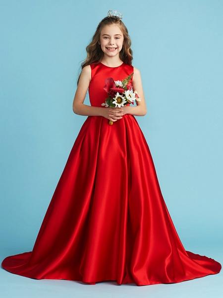 Princess / A-Line Jewel Neck Floor Length Satin Junior Bridesmaid Dress With Bow(S) / Pleats / Crystals_3