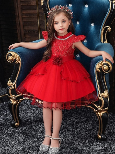Princess / Ball Gown Knee Length Wedding / Party Flower Girl Dresses - Tulle Cap Sleeve Jewel Neck With Sash / Ribbon / Embroidery / Flower_2