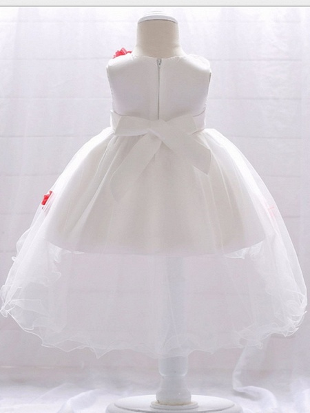 Ball Gown Court Train Wedding / Party Flower Girl Dresses - Satin / Tulle Sleeveless Jewel Neck With Bow(S) / Appliques_2