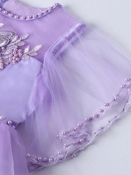 Princess Midi Wedding / Birthday Satin / Tulle Sleeveless Jewel Neck With Bow(S) / Pearls / Beading_11