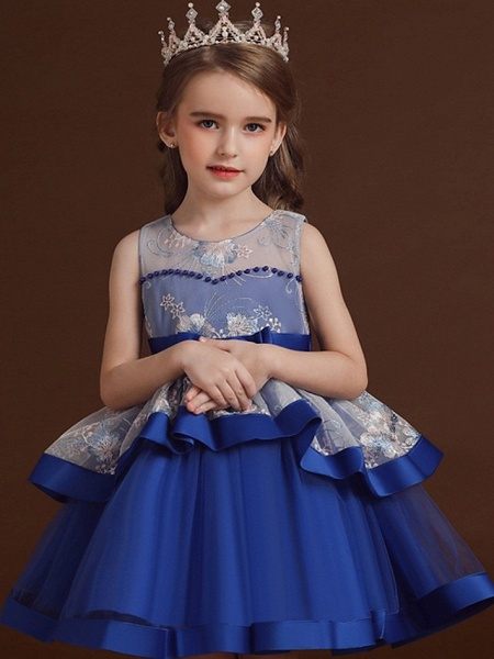 Princess / Ball Gown Knee Length Wedding / Party Flower Girl Dresses - Tulle Sleeveless Jewel Neck With Bow(S) / Tier / Embroidery_2