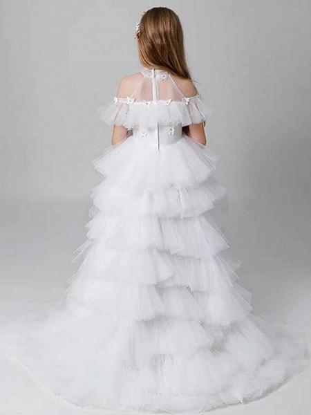 Sheath / Column Sweep / Brush Train Party / Birthday Flower Girl Dresses - Poly Sleeveless Off Shoulder With Lace / Tier_4