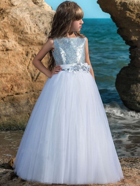 Ball Gown Maxi Wedding / Birthday / Pageant Flower Girl Dresses - Tulle Sleeveless Boat Neck With Belt / Crystals / Rhinestones / Paillette_1