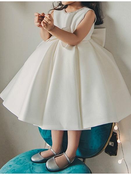 Princess / Ball Gown Tea Length Wedding / Party Flower Girl Dresses - Satin Sleeveless Jewel Neck With Bow(S) / Pleats_2