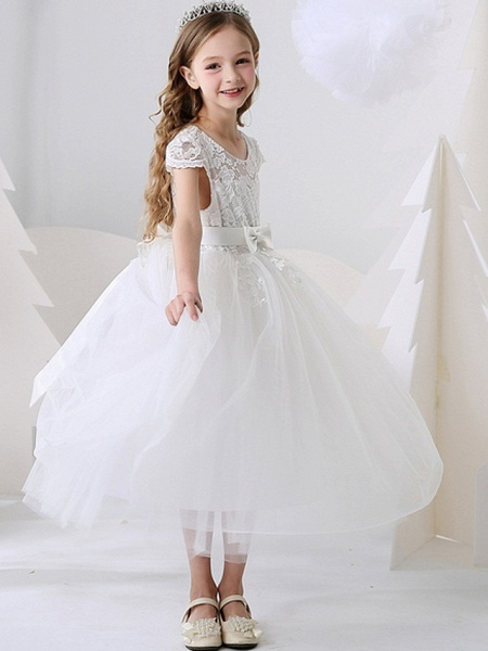 Ball Gown Ankle Length Event / Party / Birthday Flower Girl Dresses - Polyester Short Sleeve Jewel Neck With Bow(S) / Appliques_3