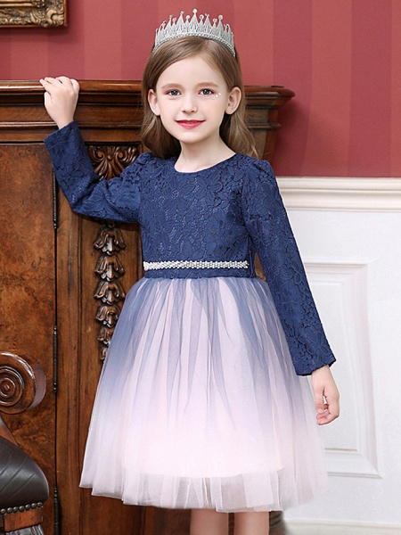 Princess / Ball Gown Tea Length Wedding / Party Flower Girl Dresses - Tulle Long Sleeve Jewel Neck With Crystals / Splicing_3