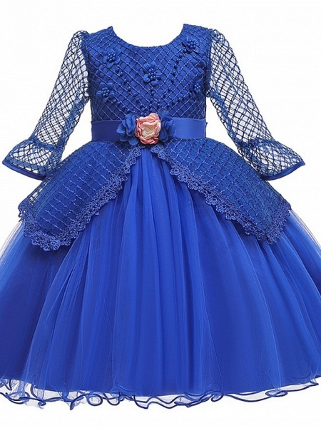 Princess / Ball Gown Knee Length Wedding / Party Flower Girl Dresses - Tulle Long Sleeve Jewel Neck With Sash / Ribbon / Bow(S) / Beading_5