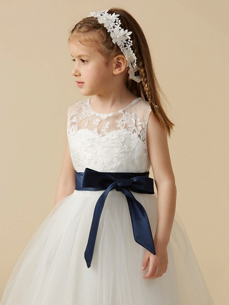 A-Line Ankle Length Wedding / First Communion Flower Girl Dresses - Lace / Tulle Sleeveless Jewel Neck With Sash / Ribbon / Bow(S) / Buttons_5