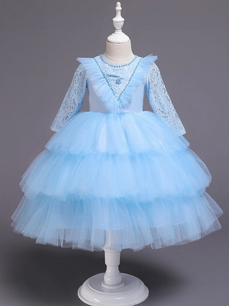 Princess / Ball Gown Knee Length Wedding / Party Flower Girl Dresses - Tulle Long Sleeve Jewel Neck With Bow(S) / Beading / Embroidery_2