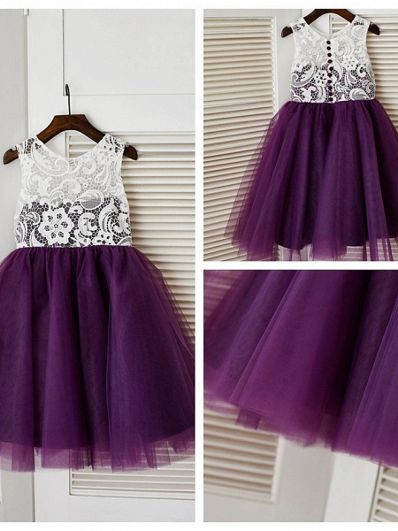 A-Line Knee Length Pageant Flower Girl Dresses - Lace / Tulle Sleeveless Jewel Neck With Lace / Pleats_8