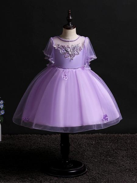 Princess Midi Wedding / Birthday Satin / Tulle Sleeveless Jewel Neck With Bow(S) / Pearls / Beading_7