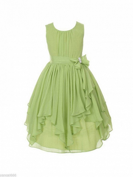 Ball Gown Ankle Length Wedding / Party Flower Girl Dresses - Tulle Sleeveless Jewel Neck With Bow(S) / Tier / Solid_2