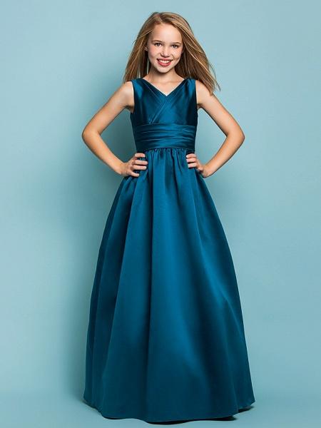 Princess / A-Line V Neck Floor Length Satin Junior Bridesmaid Dress With Sash / Ribbon / Criss Cross / Spring / Summer / Fall / Apple / Hourglass_1