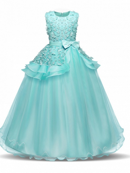 Princess Long Length Wedding / First Communion Flower Girl Dresses - Chiffon / Satin / Tulle Sleeveless Jewel Neck With Bow(S) / Tier / Appliques_7