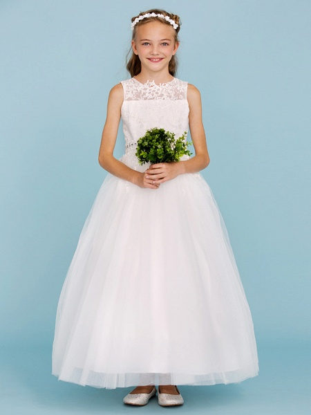 Ball Gown Crew Neck Ankle Length Lace / Tulle Junior Bridesmaid Dress With Sash / Ribbon / Beading / Appliques / Wedding Party_4