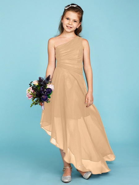 A-Line One Shoulder Asymmetrical Chiffon Junior Bridesmaid Dress With Side Draping / Wedding Party_16