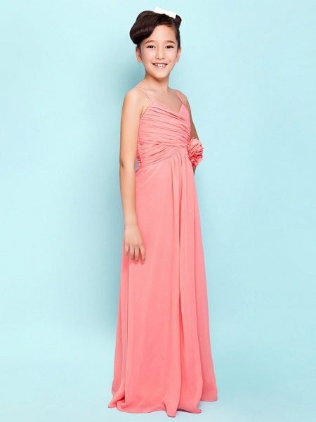 Sheath / Column Sweetheart Neckline / Spaghetti Strap Floor Length Chiffon Junior Bridesmaid Dress With Flower / Empire / Spring / Summer / Fall / Hourglass_2