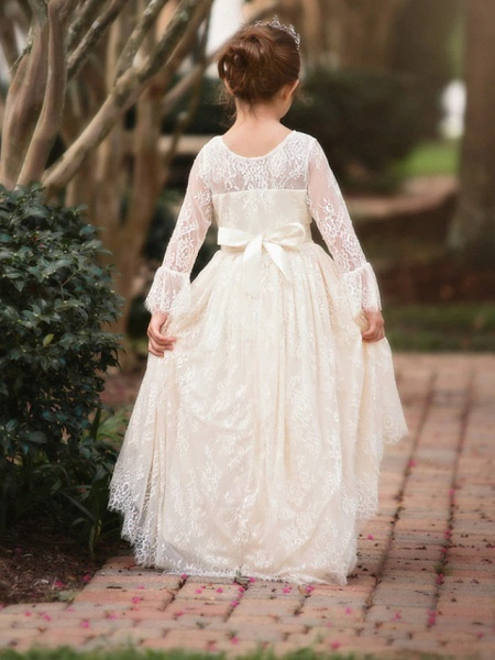 Ball Gown Asymmetrical Wedding Flower Girl Dresses - Lace Long Sleeve V Neck With Bow(S) / Appliques / Solid_3