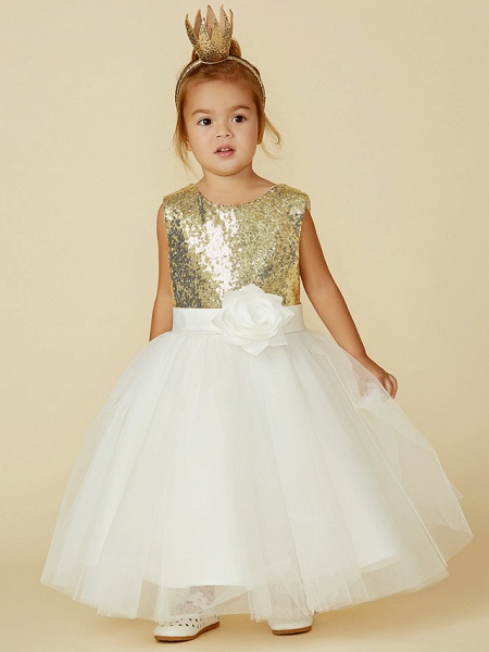 Princess Knee Length Pageant Flower Girl Dresses - Tulle / Sequined Sleeveless Jewel Neck With Sash / Ribbon / Bow(S) / Flower_5