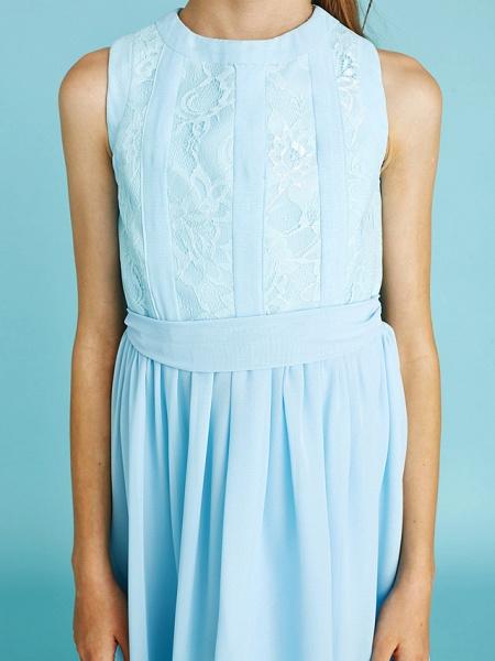 Sheath / Column Jewel Neck Asymmetrical Chiffon / Lace Junior Bridesmaid Dress With Pleats / Natural_10