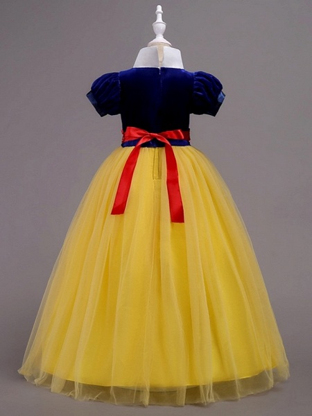 Princess / Ball Gown Floor Length Wedding / Party Flower Girl Dresses - Tulle Short Sleeve Jewel Neck With Sash / Ribbon / Tier_4
