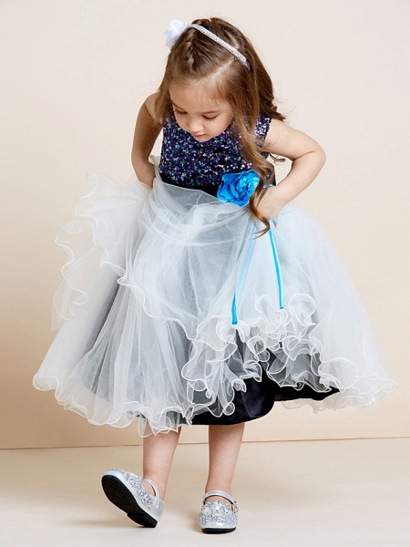 A-Line Tea Length Tulle / Sequined Sleeveless Jewel Neck With Sash / Ribbon / Sequin / Draping / Mini Me_6