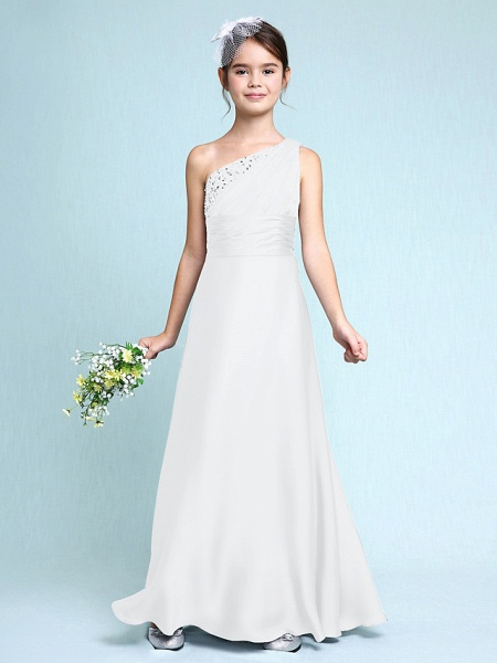 Sheath / Column One Shoulder Floor Length Chiffon Satin Junior Bridesmaid Dress With Ruched / Side Draping / Natural_20