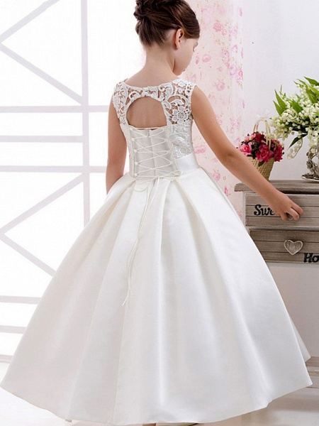 Princess / A-Line Floor Length Wedding / Party Flower Girl Dresses - Lace / Satin Short Sleeve Jewel Neck With Pleats / Solid_2