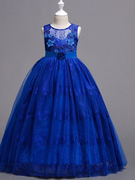 Princess / Ball Gown Floor Length Wedding / Party Flower Girl Dresses - Tulle Sleeveless Jewel Neck With Bow(S) / Flower_7