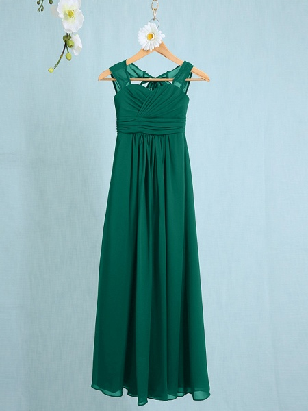 Sheath / Column Straps Ankle Length Chiffon Junior Bridesmaid Dress With Ruched / Natural_23