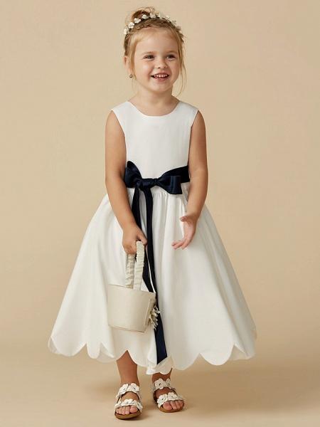 A-Line Tea Length Wedding / First Communion Flower Girl Dresses - Taffeta Sleeveless Jewel Neck With Sash / Ribbon / Pleats_4