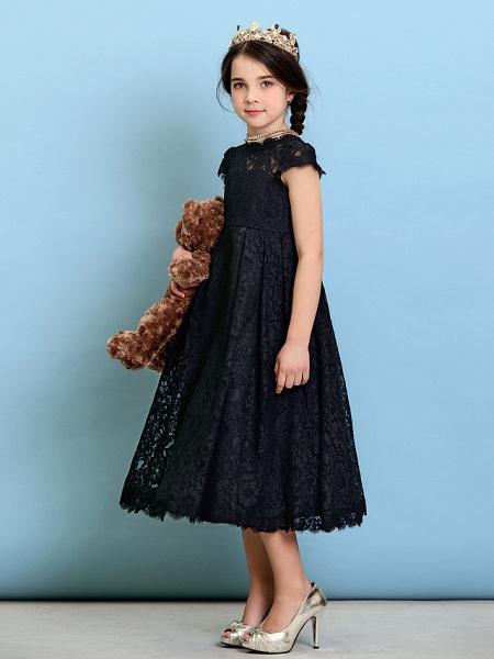 Princess / A-Line Jewel Neck Tea Length Lace Junior Bridesmaid Dress With Pleats / Natural_7