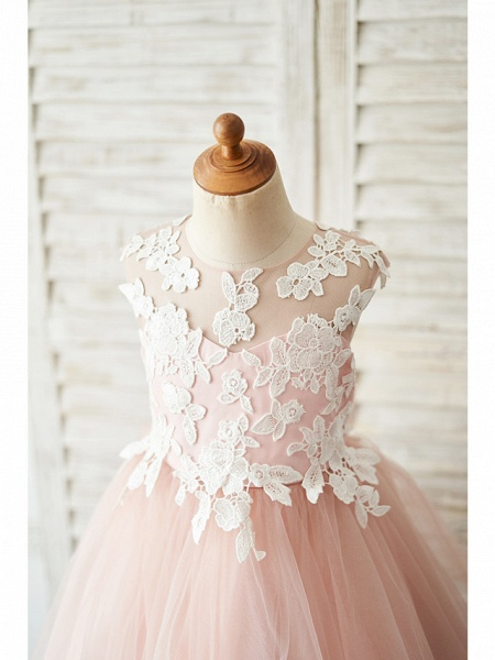 Ball Gown Knee Length Wedding / Birthday Flower Girl Dresses - Satin / Tulle Sleeveless Jewel Neck With Bow(S) / Appliques_3
