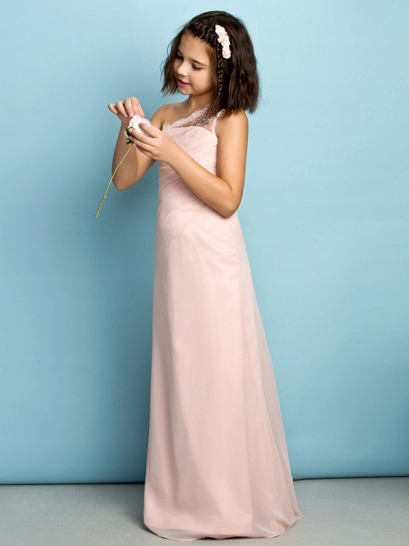 Princess One Shoulder Floor Length Chiffon Junior Bridesmaid Dress With Crystals / Side Draping / Natural / Mini Me_4