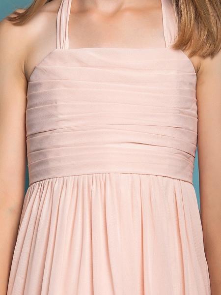 Sheath / Column Halter Neck Floor Length Chiffon Junior Bridesmaid Dress With Ruched / Spring / Summer / Fall / Apple / Hourglass_7