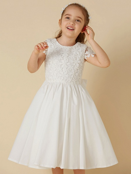 A-Line Knee Length Wedding / First Communion Flower Girl Dresses - Lace / Cotton Short Sleeve Scoop Neck With Bow(S)_5