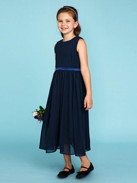 Princess / A-Line Crew Neck Tea Length Chiffon Junior Bridesmaid Dress With Sash / Ribbon / Draping / Wedding Party_3