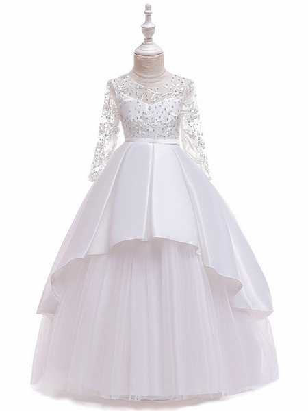 Ball Gown / A-Line Maxi Wedding / Formal Evening / Pageant Flower Girl Dresses - Cotton Blend / Lace 3/4 Length Sleeve Jewel Neck With Lace / Sash / Ribbon / Pleats_12
