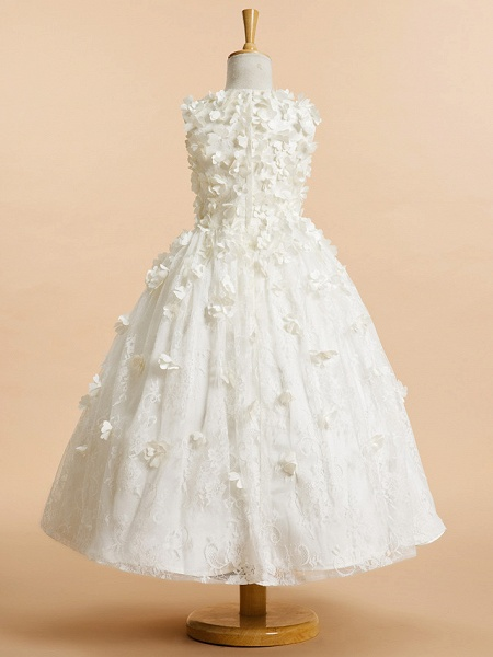 A-Line Tea Length Wedding / First Communion Flower Girl Dresses - Lace Sleeveless Jewel Neck With Flower_3