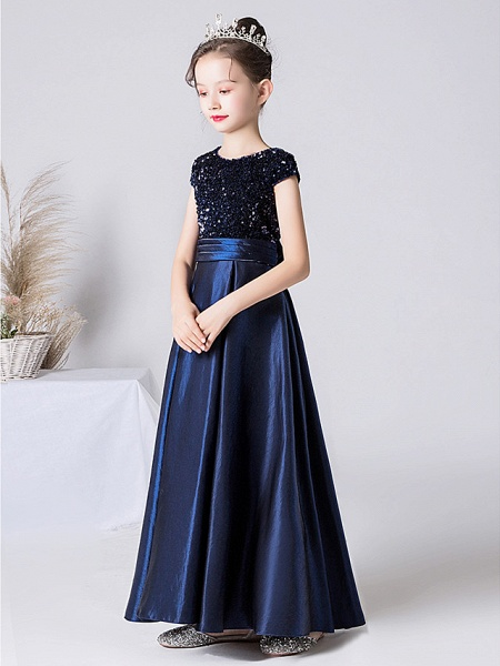Sheath / Column Floor Length Event / Party / Birthday Flower Girl Dresses - Satin / Sequined Cap Sleeve Jewel Neck With Pleats_7