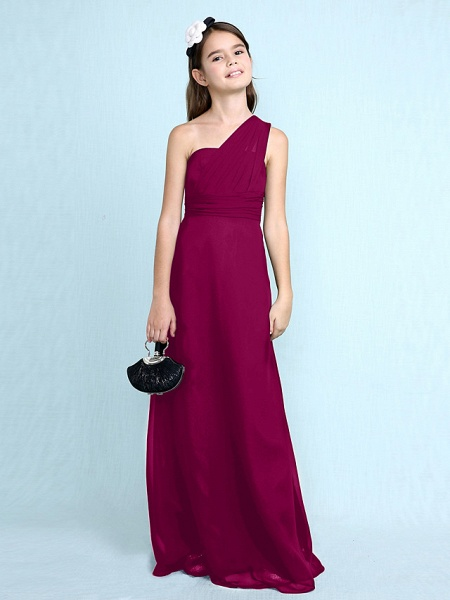 Sheath / Column One Shoulder Floor Length Chiffon Junior Bridesmaid Dress With Side Draping / Natural_44