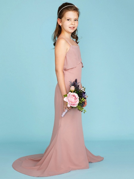 Sheath / Column Spaghetti Strap Sweep / Brush Train Chiffon Junior Bridesmaid Dress With Tiered / Wedding Party / Open Back_3