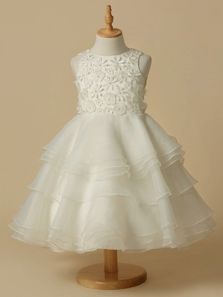 A-Line Knee Length Wedding / First Communion Flower Girl Dresses - Lace / Organza Sleeveless Scoop Neck With Lace_1