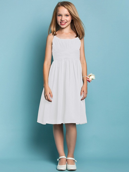 Sheath / Column Straps Knee Length Chiffon Junior Bridesmaid Dress With Ruched / Draping / Spring / Summer / Fall / Apple / Hourglass_18
