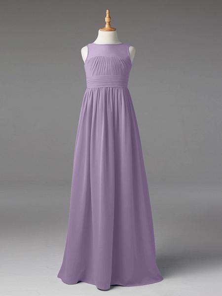 Princess / A-Line Jewel Neck Floor Length Chiffon Junior Bridesmaid Dress With Sash / Ribbon / Pleats_27