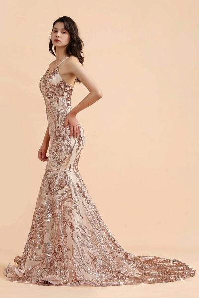V-neck Sequins Sleeveless Mermaid Floor Length Prom Dresses_3